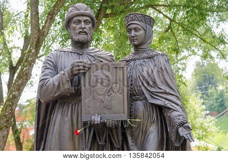 Sergiev Posad - August 10, 2015: Close-up Of Individual Sculptural Composition Of The Holy Prince Pe