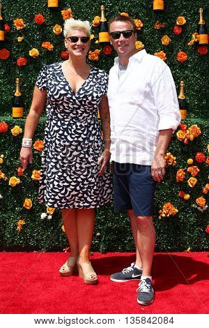 JERSEY CITY, NJ - MAY 30: Chefs Anne Burrell (L) and Marc Murphy attend the 8th Annual Veuve Clicquot Polo Classic at Liberty State Park on May 30, 2015 in Jersey  City, New Jersey.