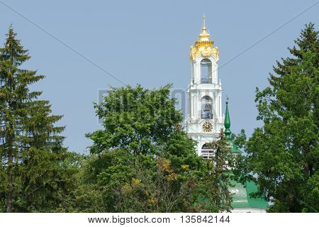 Sergiev Posad - August 10, 2015: View Of The Bell Tower Of Holy Trinity St. Sergius Lavra In Sergiev