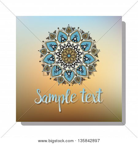 Card of old fairy tail flyer pages ornament illustration concept on blure background. Vintage art traditional, Islam, arabic, indian, elements. Vector decorative greeting card or invitation design.