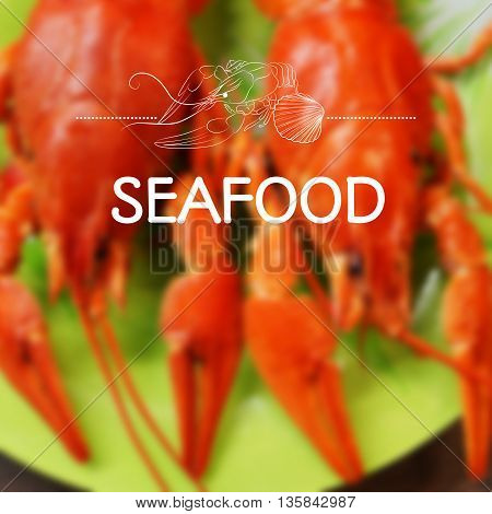 Vector blurred background with seafood. Lobsters. Design for menu or cookbook. Mesh blurred background. EPS 10