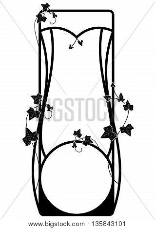vector frame with ivy in black and white