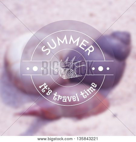 Vector blurred background with illustration with seashells on the sand and label with sea shell. Travel design. Mesh blurred background. EPS 10