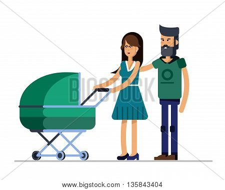 Young married couple walking with they newborn child