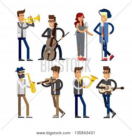 Set of musicians people flat vector illustration. Musician cartoon characters isolated on white background