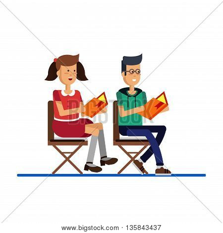 Vector flat illustration of cartoon kids reading book. Boy and girl sitting and reading book