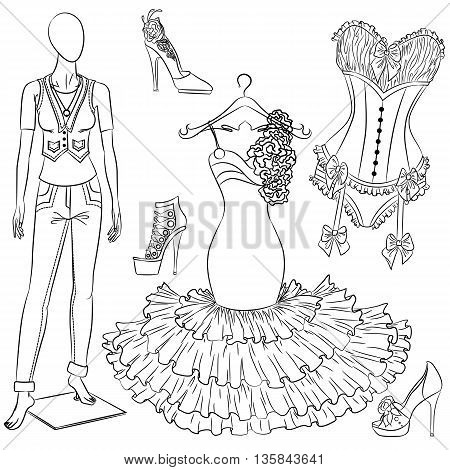 A set of fashion accessories. Women's clothing and shoes. Outline Vector illustration