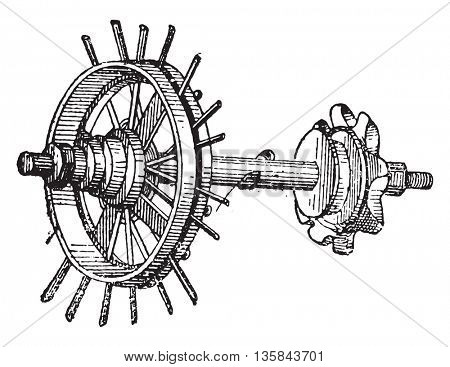 Valve, vintage engraved illustration. Industrial encyclopedia E.-O. Lami - 1875.
