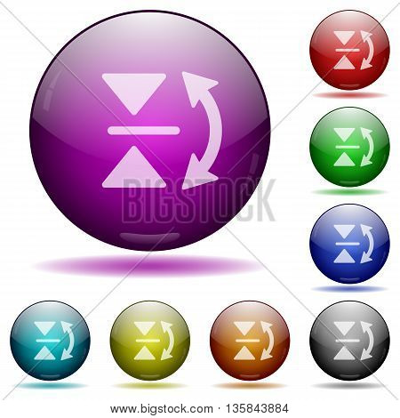 Set of color Vertical flip glass sphere buttons with shadows.