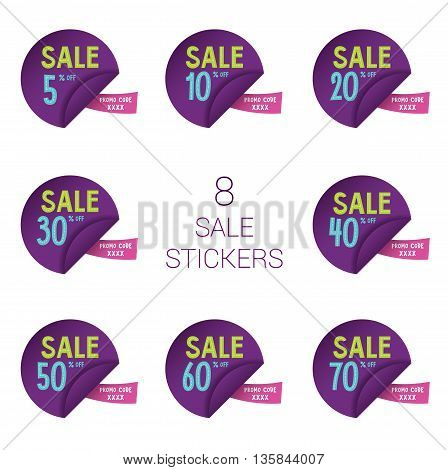 8 sale round stickers with discount and promo code for web site, for web banners. Eps10 vector