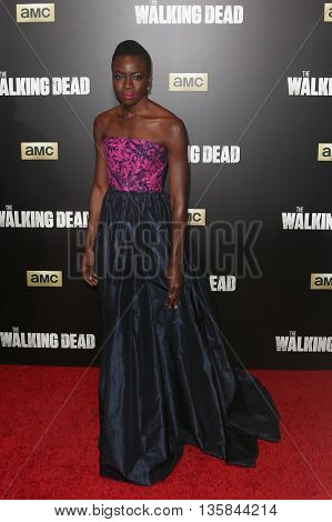 NEW YORK-OCT 9: Actress Danai Gurira attends AMC's 'The Walking Dead' season six premiere at Madison Square Garden on October 9, 2015 in New York City.