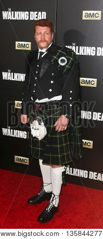 NEW YORK-OCT 9: Actor Michael Cudlitz attends AMC's 'The Walking Dead' season six premiere at Madison Square Garden on October 9, 2015 in New York City.