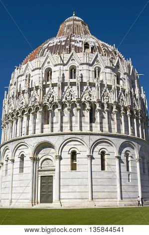 Pisa, Italy - September 29, 2010: Baptistery At Leaning Tower Of Pisa In Tuscany, Italy