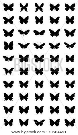 50 different silhouettes of butterflies. 2nd series.