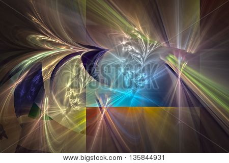 Colorful glowing pattern multicolor spliced frames and waves, abstract art for background