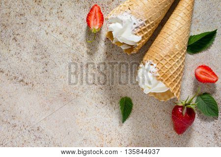 Ice Cream With Strawberries, Place For Your Text.