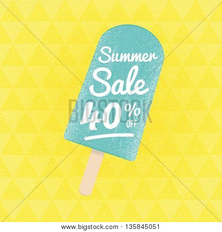 Summer Sale 40 per cent off. Vector triangular background with ice-cream.