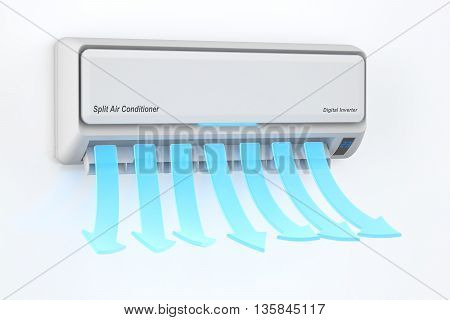 Air conditioner blowing cold air concept 3D rendering