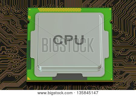 cpu computer 3D rendering on black background