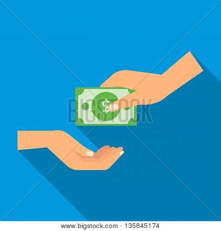 Hand gives money icon in flat style with long shadow. Transfer of funds symbol