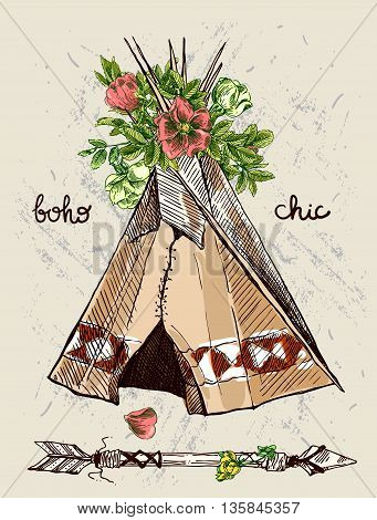 Abstract tribal design with teepee and flowers. Hand drawn brush stroke typographic design.
