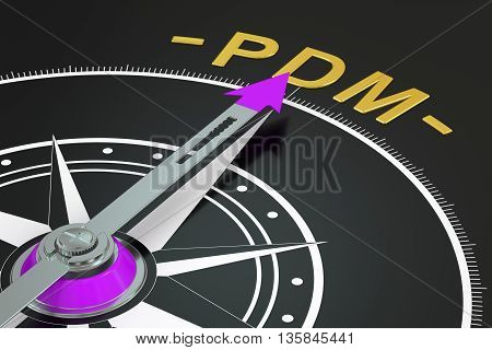 PDM compass concept 3D rendering on black background