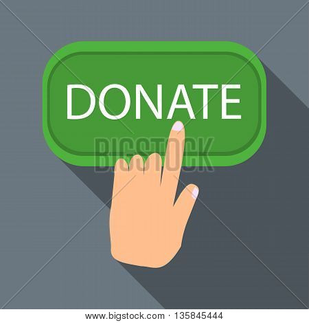 Hand presses button to donate icon in flat style with long shadow. Financial assistance to people symbol