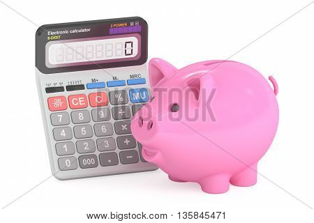 savings concept with piggy bank and calculator 3D rendering