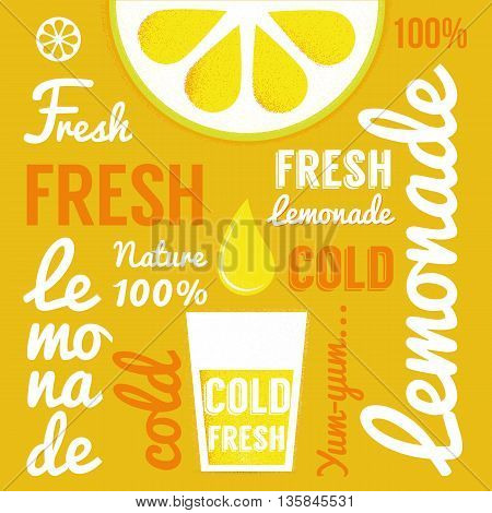 Lemon with glasses of lemonade or cocktail. Typography poster. Vector illustration
