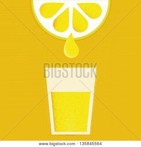 Lemon with glasses of lemonade or cocktail. Vector illustration