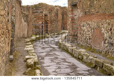 Remains of the Street in Pompeii Italy.
