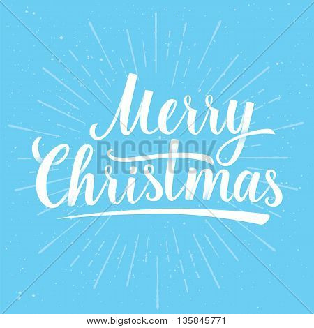 Lettering of Merry Christmas on blue color background with Light Rays. Greeting Card. Vector illustration EPS 10