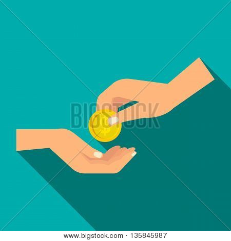Hands holding coins icon in flat style with long shadow. Money symbol