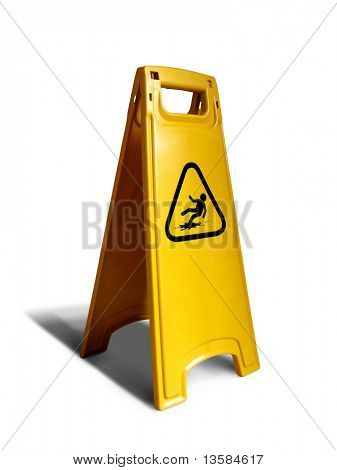 Wet floor standing sign isolated on white.