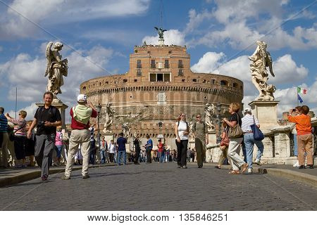 ROME ITALY - SEPTEMBER 28 2010: Tourists Enjoying the Visit of Castel Sant'Angelo in Rome Italy