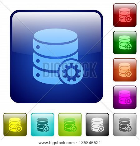 Set of database settings color glass rounded square buttons