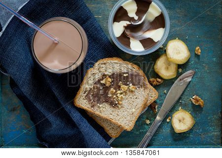 Cooking Breakfast, Toast Bread With Nut Paste, Chocolate And Cocoa Drink On Vintage Background, Top