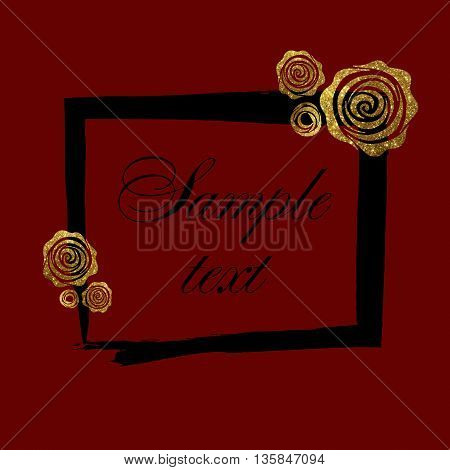 Gold rose in the background. Background, template frame