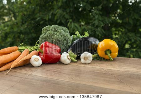 Fresh colorful vegetables on a wooden table, on a summer morning