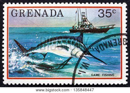 GRENADA - CIRCA 1976: a stamp printed in Grenada shows Game Fishing circa 1976