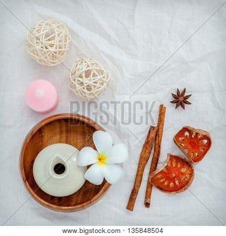 Frangipani Tropical Flowers With Herbal Spa Products . Plumeria Flowers With Aromatic Oil . Thai Spa