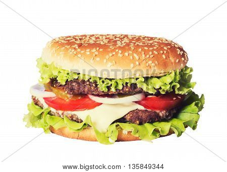 Delicious burgers with beef tomato cheese and salad isolated on white background