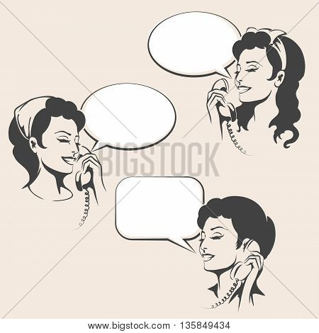 Set of Women talking on a phone with empty speech bubbles. Illustration in retro style.