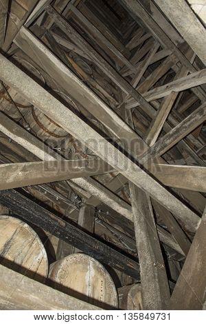 Upwards view of a bourbon barrel warehouse in Kentucky.