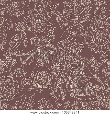 Doodle seamless background with steampunk birds and flowers. Vector ethnic pattern can be used for wallpaper, pattern fills, invitations, book cover, web pages. Hand drawn pattern.