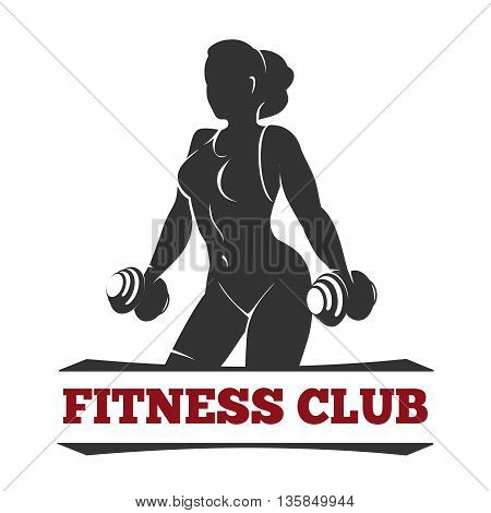 Fitness club or gym emblem or poster design template. Silhouette of athletic woman with dumbbells. Free font used.