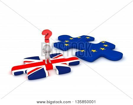 3D character with a question symbol standing on a British flag puzzle piece next to a EU puzzle piece. Isolated on white background.
