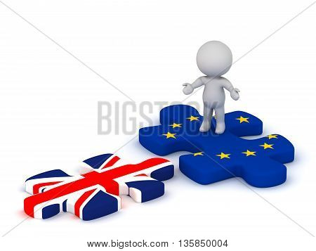 3D character with open arms standing on an EU European Union puzzle piece looking at a British flag Union Jack puzzle piece. Isolated on white background.
