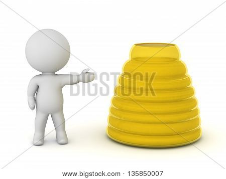 3D character showing a large yellow jar of honey. Isolated on white background.