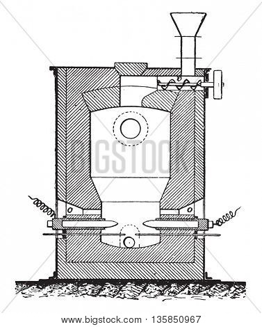 Electric furnace for the manufacture of phosphorus, vintage engraved illustration. Industrial encyclopedia E.-O. Lami - 1875.
